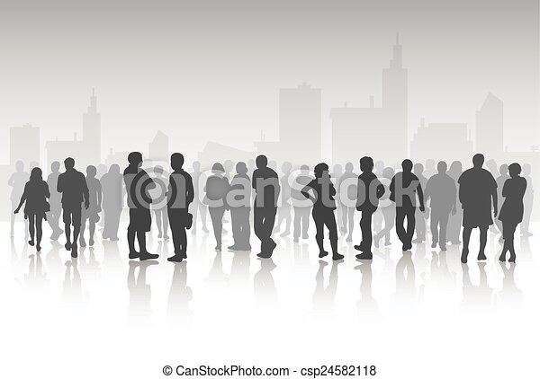 People silhouettes outdoors - csp24582118