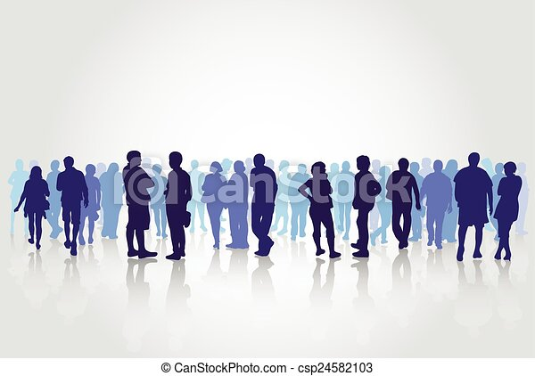 People silhouettes outdoors - csp24582103