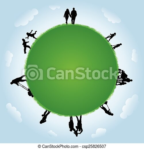 People silhouettes outdoors - csp25826507