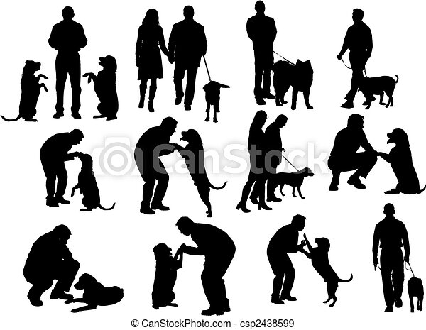 people silhouettes with dog - csp2438599