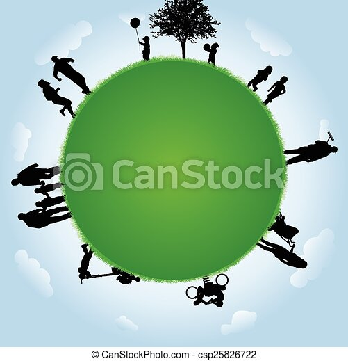 People silhouettes with globe illustration - csp25826722
