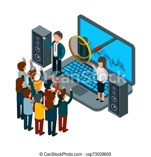 People sing. Choir recording song. Vector isometric music concept - csp73029605