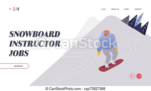 People Snowboarding Website Landing Page Snowboard Man Rider Character Having Fun And Winter Mountain Sports Activity Ski Resort Sport Spare Time