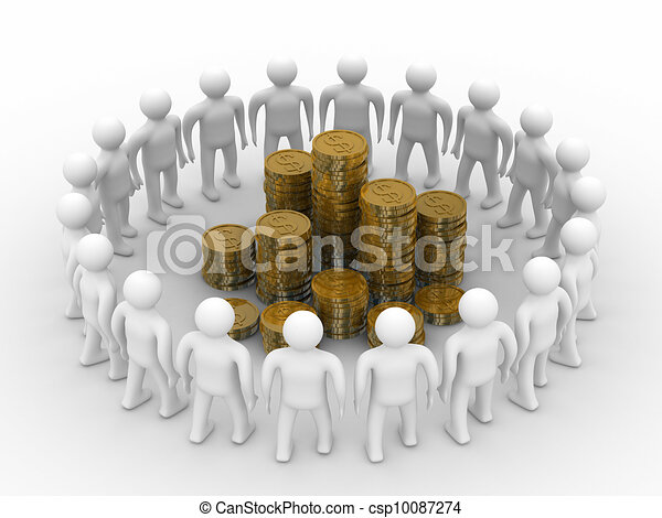 People standing around of money. Isolated 3D image - csp10087274