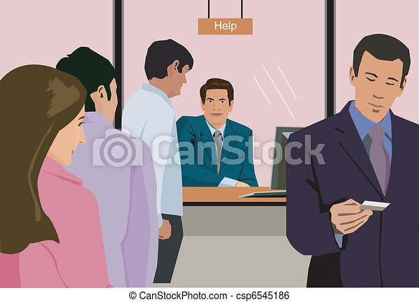 Line Art Help : People standing at help counter in bank stock illustration