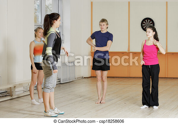 People standing in gym - csp18258606