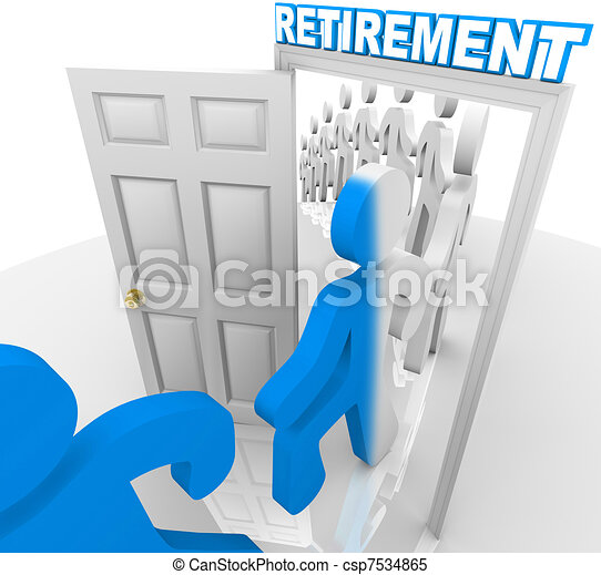 People Stepping Through the Retirement Doorway to Retire - csp7534865