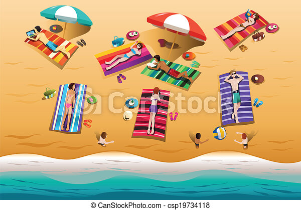 People Sunbathing On The Beach Vector