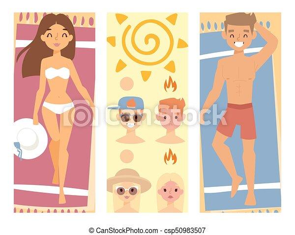People sunshine tan beach outdoors summer suntan sun characters skin protection sunburn vector illustration. - csp50983507