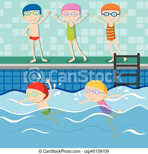 People swimming in the swimming pool illustration