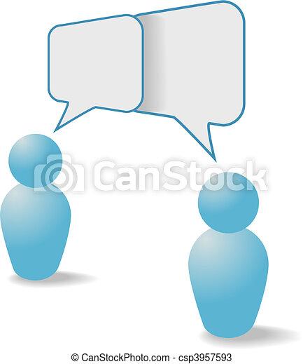 People symbols share talk communication speech bubbles - csp3957593