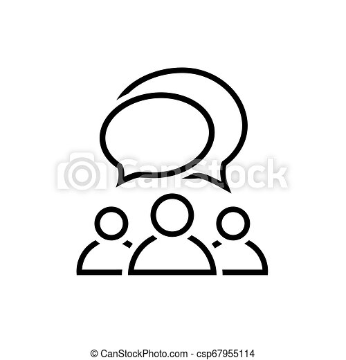 People talking line icon. Group of people symbol - csp67955114