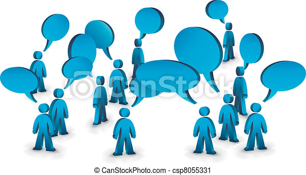 People talking symbolized with speech bubbles.