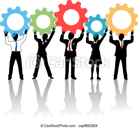 People team up technology solution gears - csp8863264