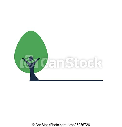 People the trunk and green tree vector icon - csp38356726