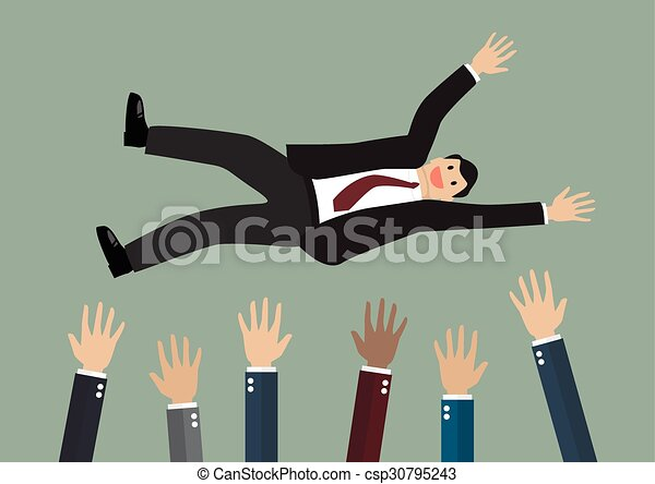 People throw a businessman in the air - csp30795243