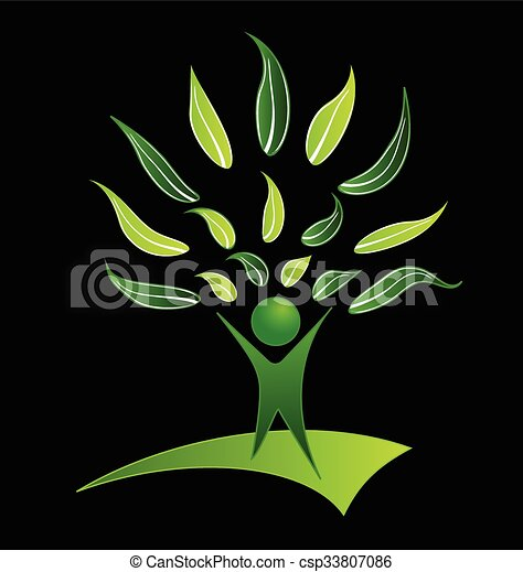 People tree with green leafs logo - csp33807086