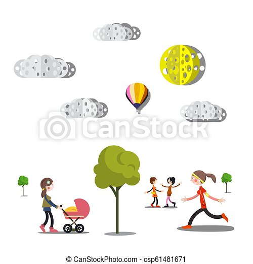 People, Trees and Paper Cut Clouds on White Background - csp61481671