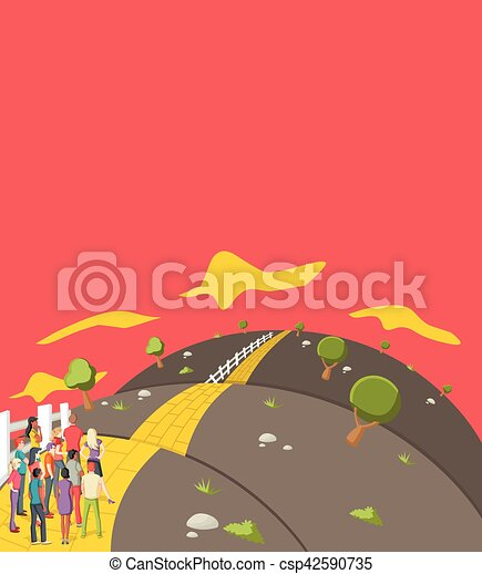 people trying to cross a Yellow Brick Road on the hill - csp42590735