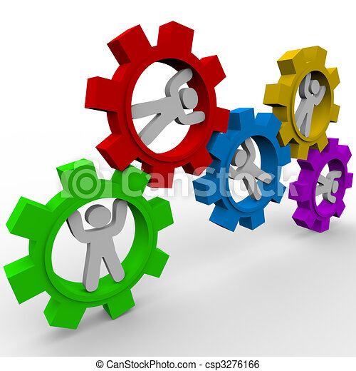 People Turning in Gears - Synergy - csp3276166