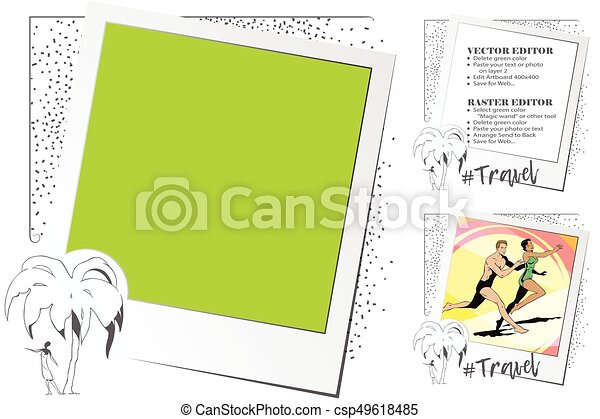 People under palm trees. Rest by sea. Frame for scrapbook, banner, sticker, social network. - csp49618485