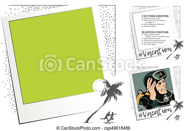 People under palm trees. Rest by sea. Frame for scrapbook, banner, sticker, social network. - csp49618486