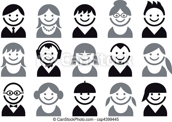 people vector icon set - csp4399445