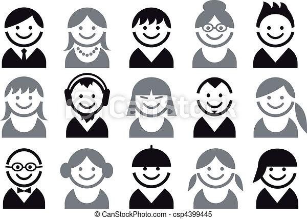 people vector icon set - csp4399445