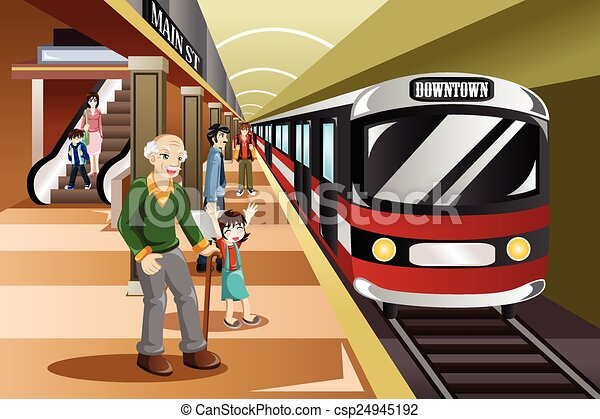 People waiting in a train station - csp24945192