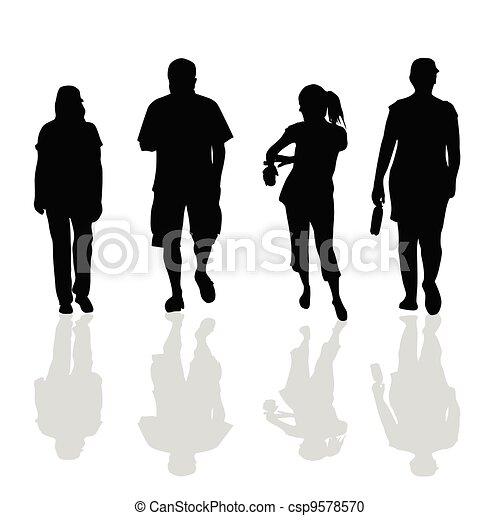 People Walking Black Silhouette Of Art Vector Illustration