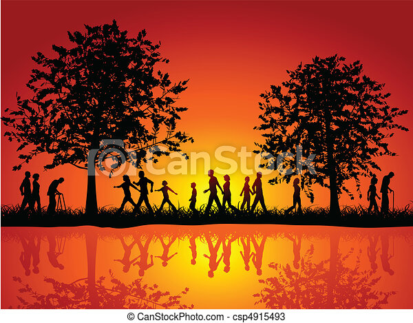People walking in the countryside - csp4915493