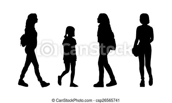 People Walking Outdoor Silhouettes Set 23 Stock Illustration