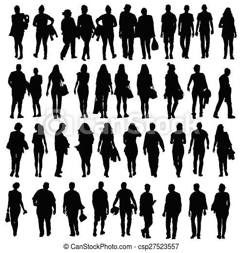 People Walking Silhouette Vector Black