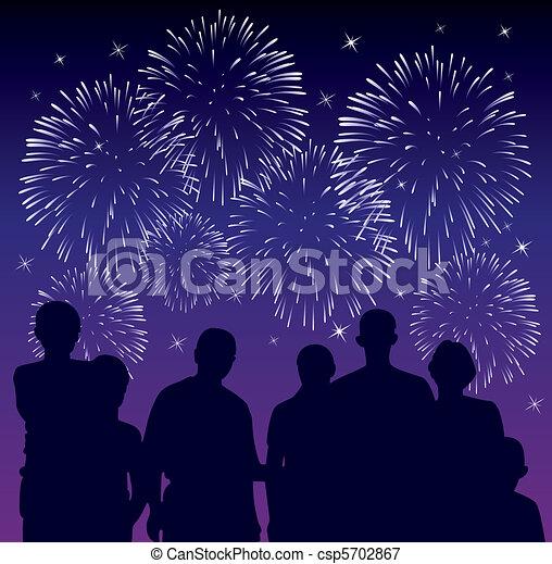 people watching fireworks - csp5702867