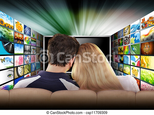 People Watching Television Movie Screen - csp11709309