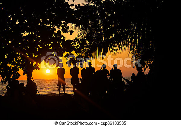People watching the sunset - csp86103585