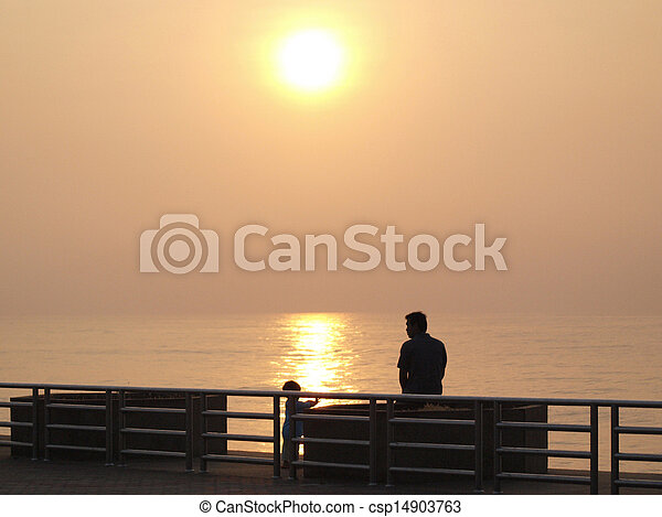 People watching the sunset - csp14903763