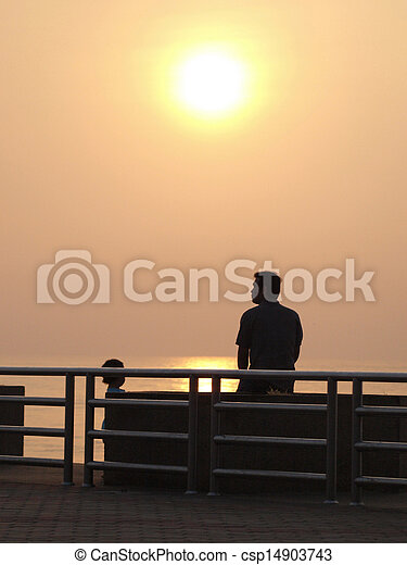 People watching the sunset - csp14903743