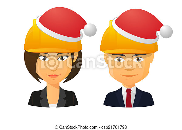 People wearing a work hat and a santa hat - csp21701793