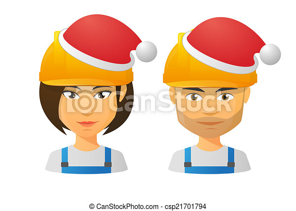 People wearing a work hat and a santa hat - csp21701794