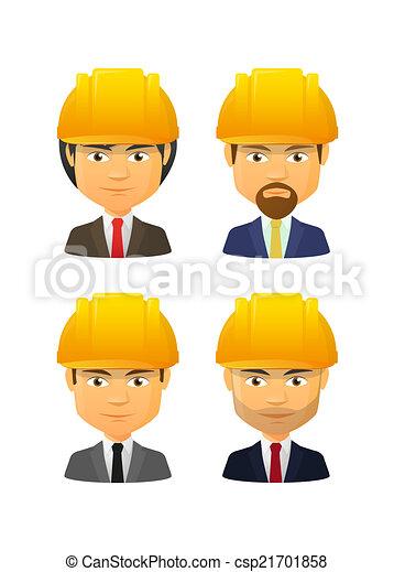 People wearing a work hat avatar set - csp21701858