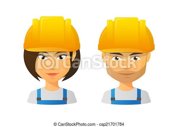 People wearing a work hat avatar set - csp21701784