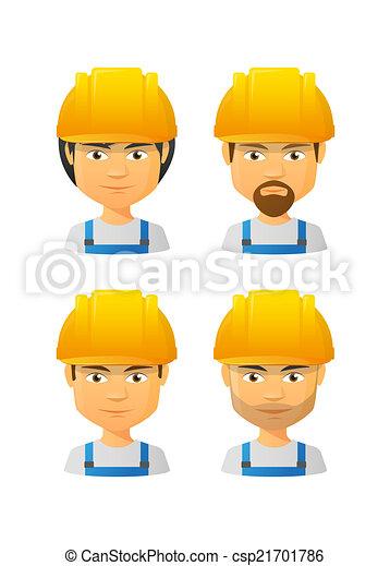 People wearing a work hat avatar set - csp21701786