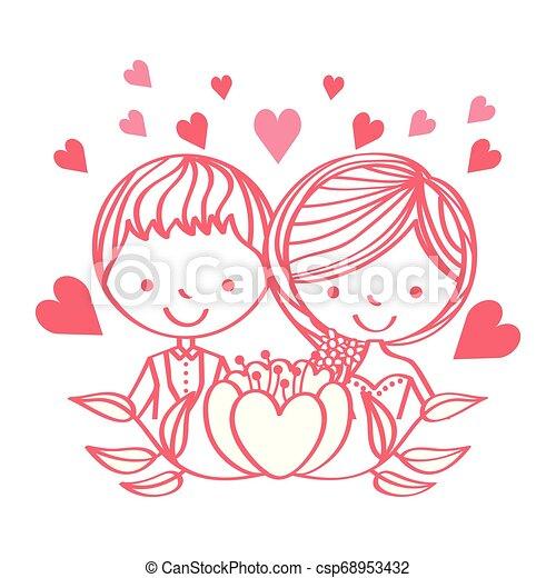 People Wedding Day Wedding Day Cute Couple Cartoon Flowers Love Vector Illustration