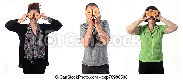 people with a donut on white background - csp78980538