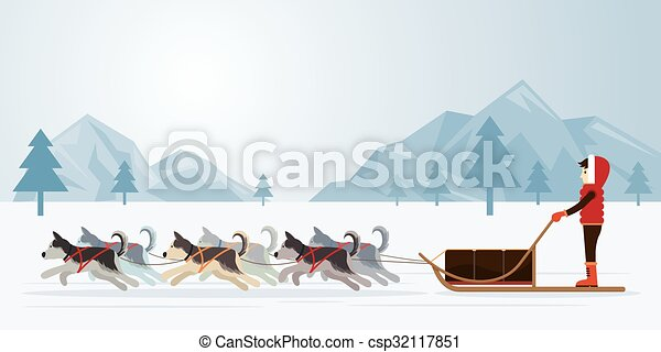 people with arctic dogs sledding panorama background winter rh canstockphoto com Dog Sled Clipartt dog sled clipart