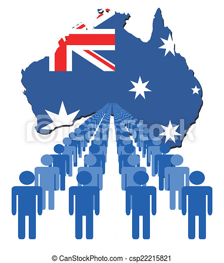 people with Australia map flag - csp22215821