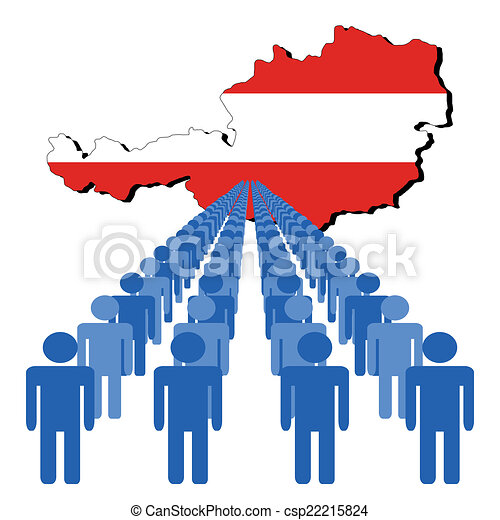 people with Austria map flag - csp22215824