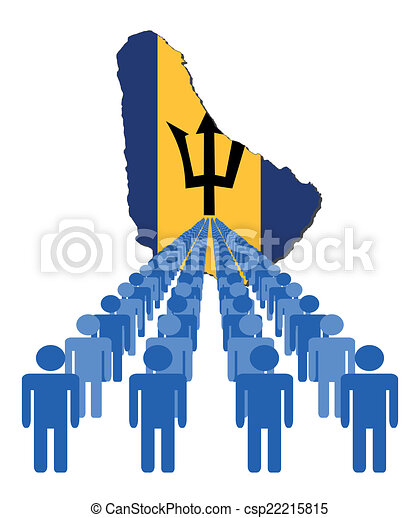 people with Barbados map flag - csp22215815