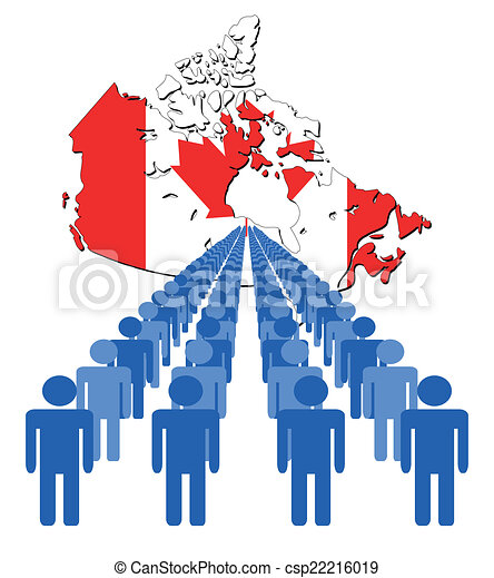 Lines of people with canada map flag vector illustration vector